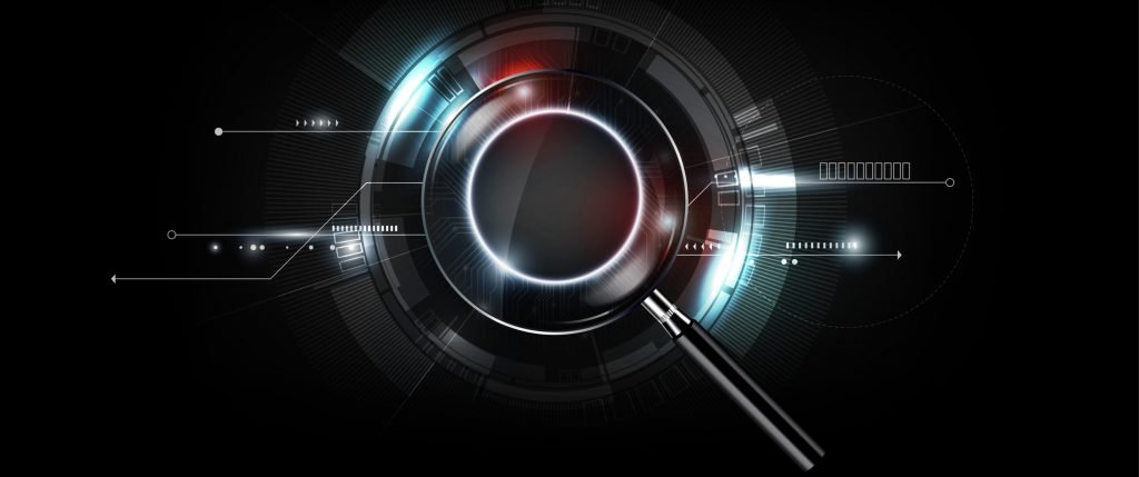 magnifying glass with scan search concept